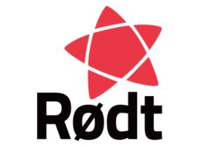 Logoen til Rødt med partinavn og en stjernefigur.