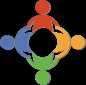 Fire tegnede menneskefigurer som holder hender i en sirkel.