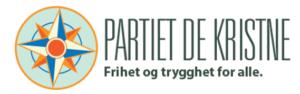 Partiet De Kristne sitn logo med partinavn og en kompassfigur.