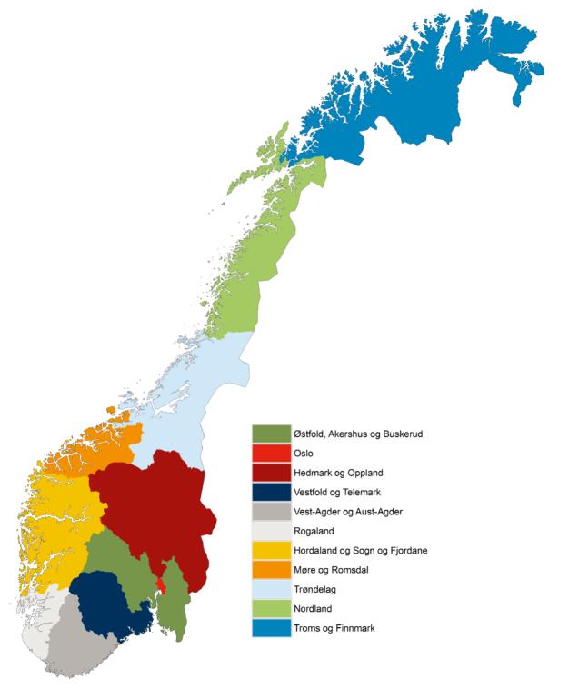 Norgeskart med de nye 11 fylkene