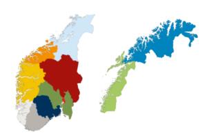 Norgeskart i to deler med de nye fylkene.