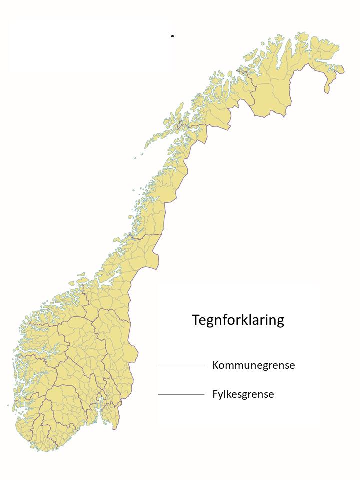 Norgeskart med fylkes- og kommunegrenser