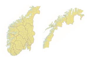 Norgeskart med fylkes- og komunegrenser.