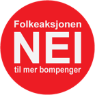 Logo til Folkeasjonen nei til mer bompenger med partinavnet inne i en runding.