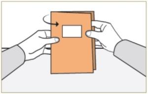 Tegning av hvordan brette stemmeseddelen.