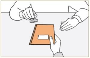 Tegning av stempling av stemmeseddelen.