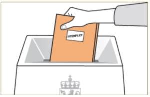 Tegnign av hvordan legge stemmeseddelen i valgurnen.