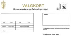 Valgkort uten informasjon om kommune eller valgpersonen den hører til.