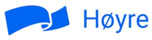 Høyres logo med sløyfe og teksten Høyre