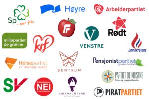 De norske partienes logoer.