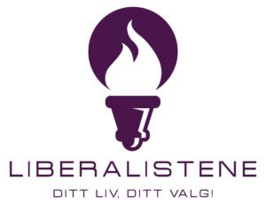 Liberalistenes logo med fakkel og teksten 'Liberalistene, Ditt liv, ditt valg!