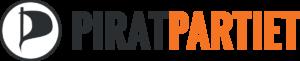 Piratpartiets logo med stilisert flagg og teksten Piratpartiet