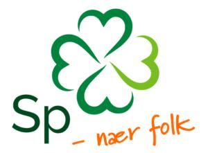 Logoen til Senterpartiet med stilisert firkløver og teksten SP - nær folk