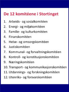 Oppramsing av 12 fagkomiteer